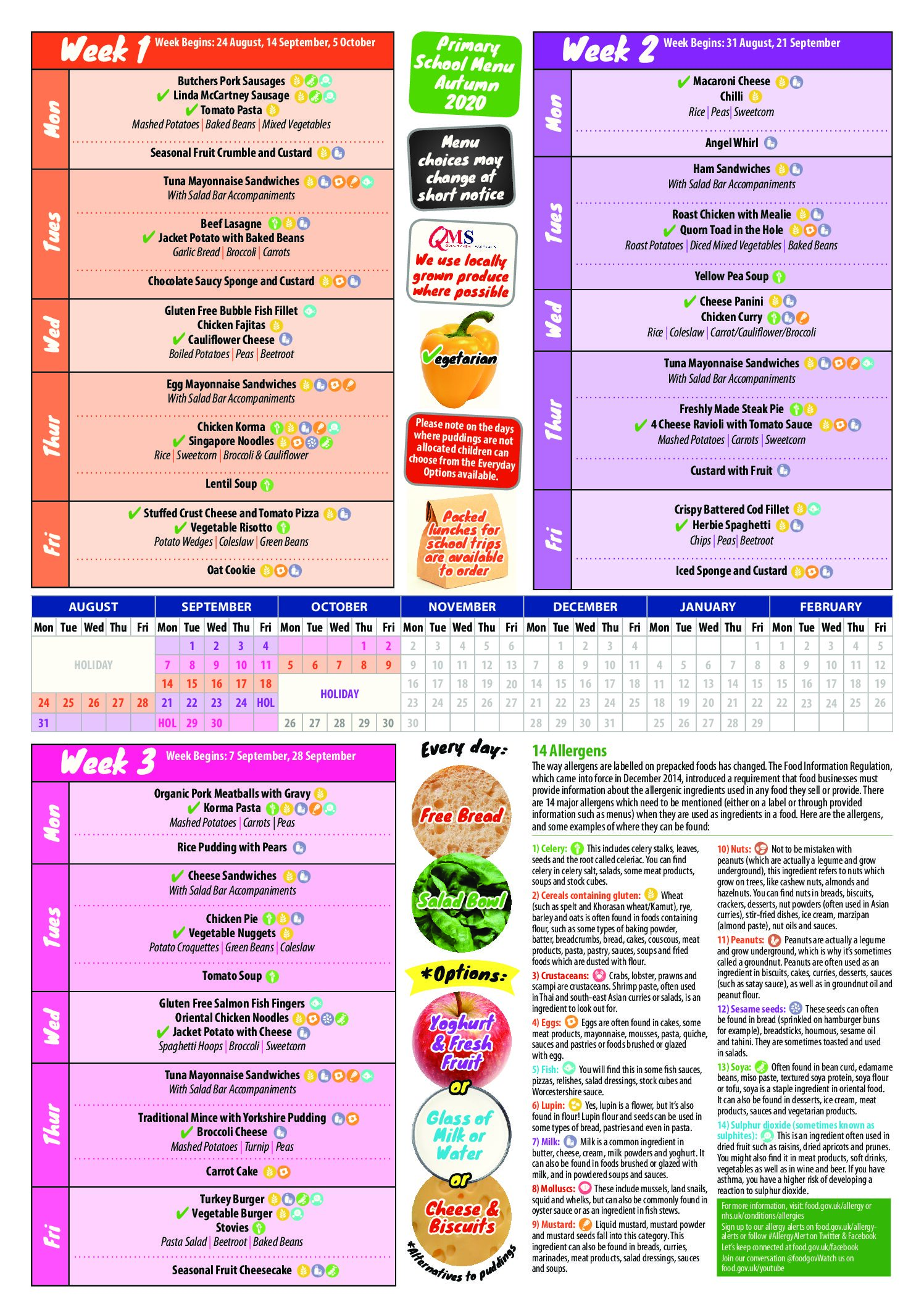 School Meals – Winter Menu